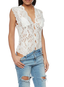 Sleeveless Lace V Neck Bodysuit - WHITE - 1402069390794