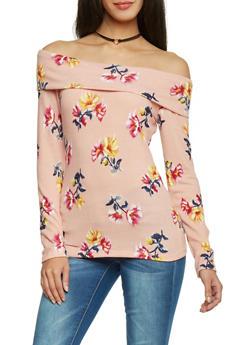 Long Sleeve Floral Off The Shoulder Top - 1402069390853