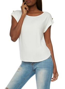 Solid Scoop Neck Top - OFF WHITE - 1402069390879