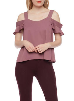 Cold Shoulder Top with Flutter Sleeves - 1402069390907