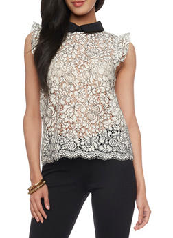 Peter Pan Scallop Lace Top - 1402069390926