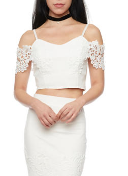 Cold Shoulder Crop Top With Crochet Sleeves - 1402069390950