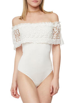 Off the Shoulder Bodysuit with Crochet Overlay - WHITE - 1402069391080