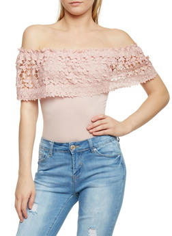Off the Shoulder Bodysuit with Crochet Overlay - BLUSH - 1402069391080