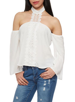 Off the Shoulder Choker Neck Top with Crochet Detail - WHITE - 1402069391084