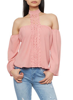 Off the Shoulder Choker Neck Top with Crochet Detail - 1402069391084