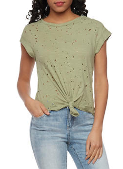 Short Sleeve Lasercut T Shirt with Tie Front - 1402069391122
