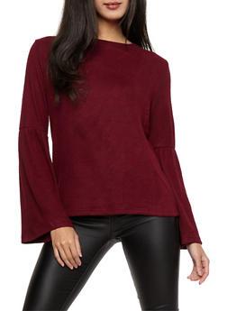 Bell Sleeve Sweater - BURGUNDY - 1402069391395