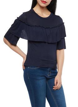 Soft Knit Ruffle Trim Top - 1402069391481