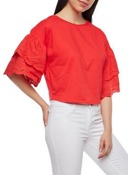 Tiered Eyelet Sleeve Top - 1402069391662