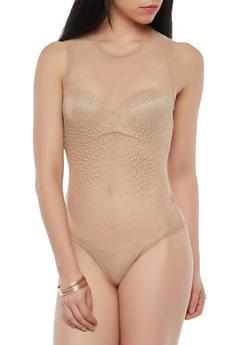 Studded Mesh Bodysuit - 1402069391743