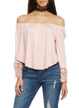 Off The Shoulder Long Sleeve Top with Crochet Sleeve Detail - 1402069391750