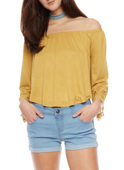 Off The Shoulder Long Sleeve Top with Crochet Sleeve Detail - MUSTARD - 1402069391750