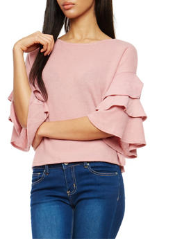 Soft Knit Tiered Sleeve Sweater - 1402069393539