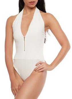 Halter Zip Bodysuit - 1402069395069