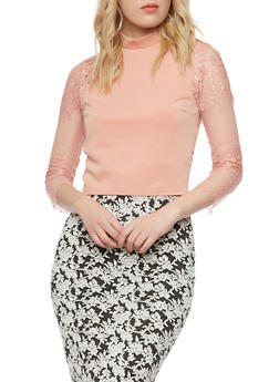 Lace Crop Top with Knit Panel - 1402069395072
