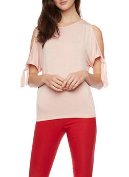 Tie Sleeve Cold Shoulder T Shirt - 1402069395097