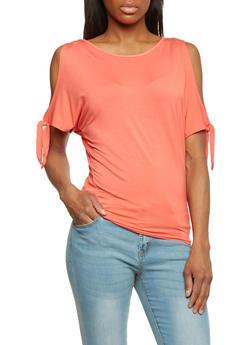 Tie Sleeve Cold Shoulder T Shirt - 1402069395097