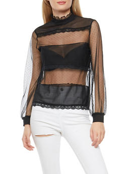 Mesh Crochet Trim Top - BLACK - 1402069395141