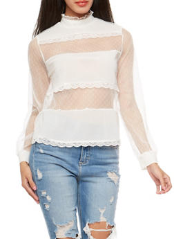 Mesh Crochet Trim Top - 1402069395141