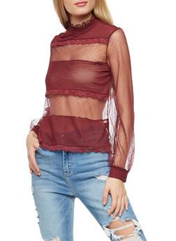 Mesh Crochet Trim Top - WINE - 1402069395141
