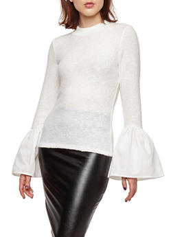 Rib Knit Bell Sleeve Sweater - IVORY - 1402069395146