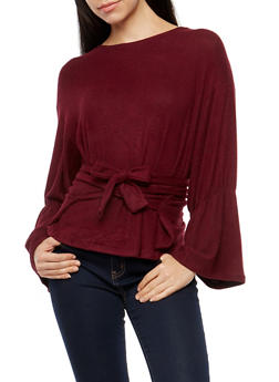 Soft Knit Long Sleeve Tie Front Sweater - 1402069395166