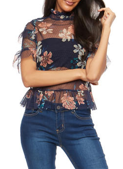 Floral Mesh Top with Ruffle Detail - 1402069395168
