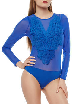 Mesh Long Sleeve Bodysuit with Stitched Ribbon Detail - 1402069395169