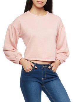Oversized Bubble Sleeve Sweatshirt - 1402069396161