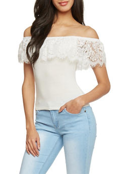 Lace Ruffle Rib Knit Off The ShoulderTop - 1402069397602