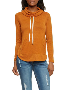 Knitted Cowl Neck Top with Drawstring - 1402069397678