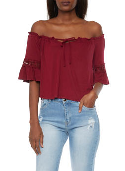Off The Shoulder Crop Top with Crochet Inserts - BURGUNDY - 1402069397707