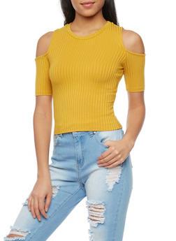 Cold Shoulder Rib Knit Short Sleeve Top - 1402069397724