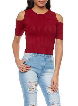 Cold Shoulder Rib Knit Short Sleeve Top - BURGUNDY - 1402069397724