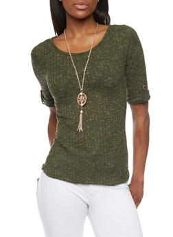 Ribbed Short Sleeve Hatchi Top with Necklace - 1402069397753