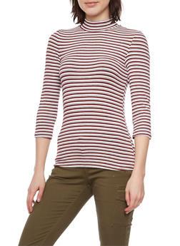 Striped Mock Neck Top - 1402069397796