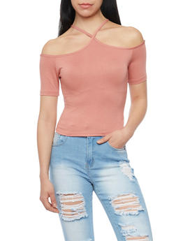 Off The Shoulder Halterneck Crop Top - 1402069397836