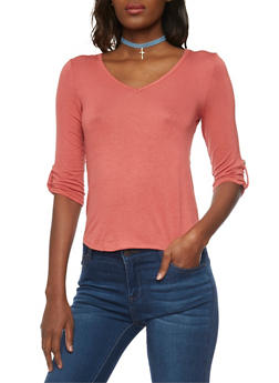 Tabbed V Neck Top with Lace Up Back - 1402069397867