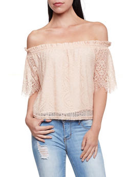 Off The Shoulder Top in Crochet - 1402069397902