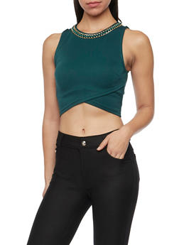 Crop Top with Chain Embellished Scoop Neck - 1402069397947