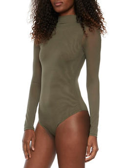 Mesh Bodysuit with Long Sleeves and Mock Neck - OLIVE - 1402069398009