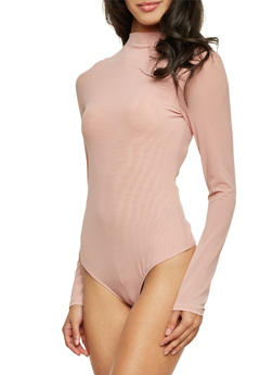 Mesh Bodysuit with Long Sleeves and Mock Neck - 1402069398009