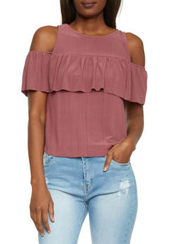Ruffle Cold Shoulder Top - 1402069398057