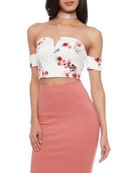 Floral Off Shoulder Crop Top - 1402069398066