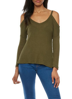 Cold Shoulder Top in Waffle Knit - 1402069398068