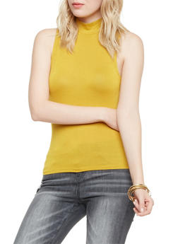Sleeveless Top with Mock Neck - MUSTARD - 1402069398091