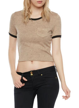 Crop Ringer Tee in Marled Knit - 1402069398128