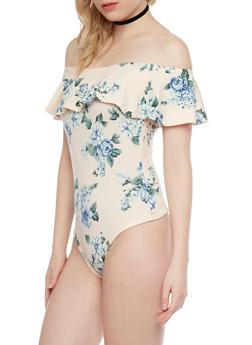 Floral Off The Shoulder Bodysuit - 1402069398185