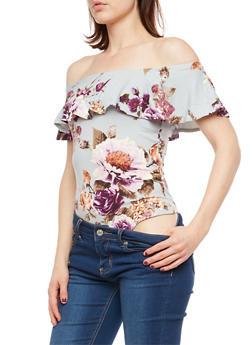 Floral Soft Knit Off the Shoulder Bodysuit - 1402069398186
